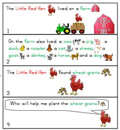 FREEBIE- The LITTLE RED HEN- Story telling and Sequencing Visuals.  This is a glimpse of my MEGA FARM pack which can be found here  http://www.teacherspayteachers.com/Product/Farm-Animals-On-The-Farm-LiteracyMathScience-and-Art-FUN-MEGA-THEME-PACK-1227347  THE FREEBIE here http://www.teacherspayteachers.com/Product/The-Little-Red-Hen-On-the-FarM-Story-Telling-Sequencing-Visuals-FREEBIE-1227353