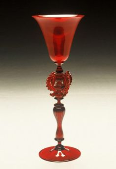 Hand blown Murano ruby glass tall goblet, Venice, Italy