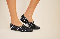 Navy Polka Dot Shoe. olivegreenanna on Etsy.