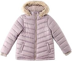 adca8fe712b24 SNOW DREAMS Girls Winter Jacket Full Zip Warm Faux Fur Hooded Quilted  Puffer Coat  girl