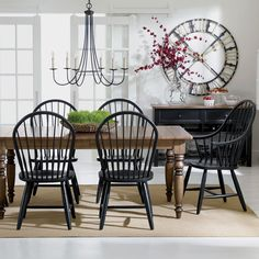Black and White dining rooms. Ethan Allen Country dining room. #Windsorchairs