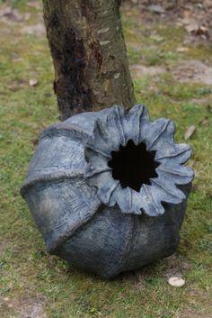 Blue stoneware papaver.