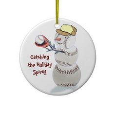Baseball Snowman Christmas Gifts Ornament