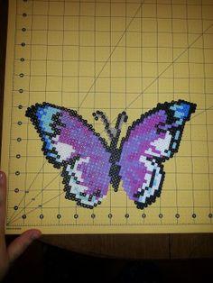 Pink and Purple Butterfly Wall Art perler beads by PerlerBeadBeauty