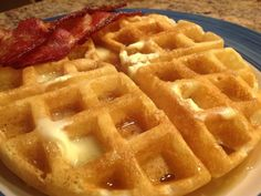 These waffles are super crisp on the outside and light as a feather inside and so scrumptious! Avoid removing them from the waffle iron too soon; they should be a golden brown. Enjoy!