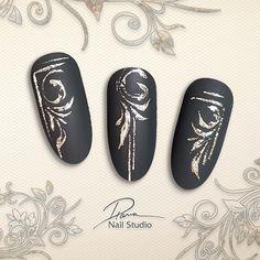 Nail Art Noel, 3d Nail Art, 3d Nails, Love Nails, Christmas Nail Designs, Christmas Nails, Arabesque, Black White Nails, Floral Nail Art