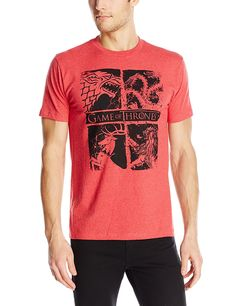Hbos Game Of Thrones Mens Game Of Thrones Four Houses T Shirt Red Heather Medium Officially Licensed Screen Printed