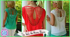 One great blouse ~ 3 ways to wear it! (1) With a bandeau top (2) Stick on bra cups/backless (3) Cami ~ The Web We Weave Blouse at Ella Bleu Boutique!