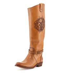 X2FR3 Frye Rider Logo Leather Boot, Tan