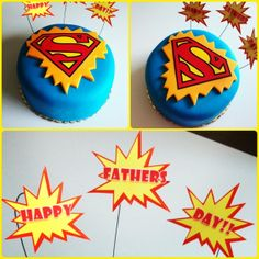 Superman Father's Day cake Fathers Day Cake, Happy Fathers Day, Fondant Cakes, Cupcake Cakes, Superman Cakes, Superhero Cake, Dad Day, Boy Birthday, Birthday Cake