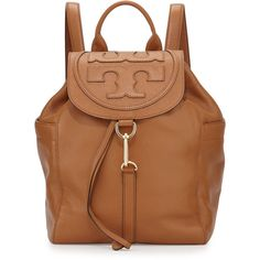 Tory Burch All-T Drawstring Fold-Over Backpack (650 CAD) ❤ liked on Polyvore featuring bags, backpacks, brown, hardware bag, american backpack, drawstring knapsack, foldable backpack and brown bag