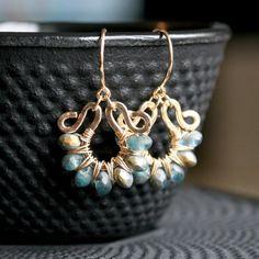 Handmade+teal+dangle+earrings+Czech+glass+by+MimiMicheleJewelry,+$49.50