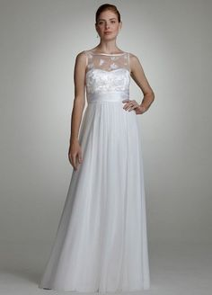 David s Bridal Wedding Dress  Chiffon Gown with Beaded Tulle Bodice  199  Bridal Party Dresses 06367a9502c7