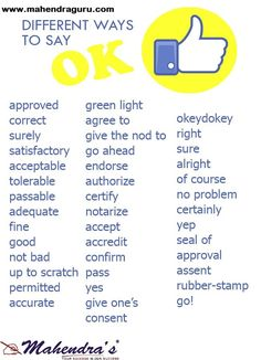"""English Grammar - Did we miss other synonyms for """"OK""""? Vocabulary Practice, Vocabulary Words, English Vocabulary, English Grammar, English Phrases, Learn English Words, English Study, English Writing Skills, English Lessons"""