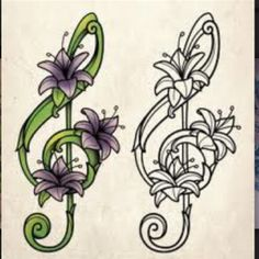 Love this Treble Clef Tattoo - Not too sure about the colour though.
