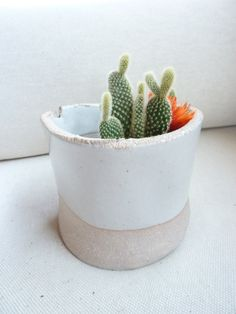 TW POTTERY, SMALL WHITE WALL POT: needs two nails and something green. $55