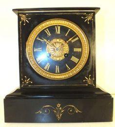 Antique 8 day black slate gilt French mantle clock Victorian mantel