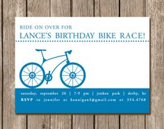 Bicycle Birthday Party Invitation perfect by pinkcreativeinvites