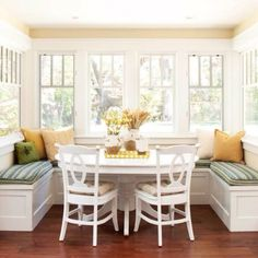 Love this breakfast nook for small seating places. Just build out/add benches to add a great eating space.