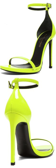 SAINT LAURENT Jane Leather Ankle Strap Sandals in Neon Yellow