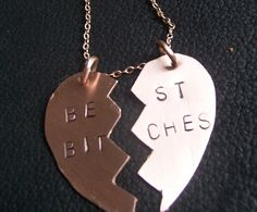 """Best Bitches"" friendships necklaces since I would never wear a ""Best Friends"" one"