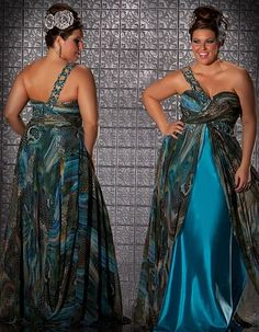 Fabulouss Peacock Print Plus Size Prom Dress by MacDuggal 6284F at frenchnovelty.com