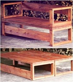 Diy Furniture - In this next wood pallet project, we have the eye-catching designed wood pallet . Wood Pallet Wine Rack, Wood Pallet Tables, Pallet Bench, Pallet Chairs, Pallet Patio, Recycled Pallets, Wooden Pallets, Wooden Diy, Recycled Crafts