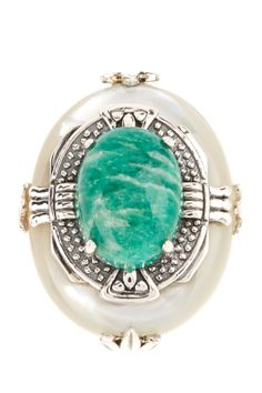 Sterling Silver Ring with Amazonite & Mother of Pearl