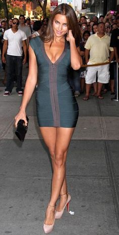 Herve Leger dark green zip up dress