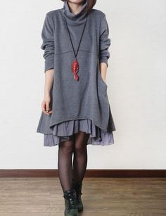 Gray cotton dress layered dress Turtleneck dress by Beautygirl02, $57.00