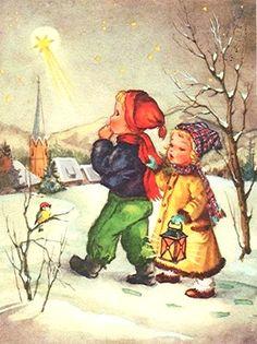 Liselotte Fabig-Distling - Popular Post X Vintage Christmas Cards, Vintage Cards, Christmas And New Year, Kids Christmas, Holiday Cards, Christmas Postcards, New Year Card, Vintage Love, Winter Time