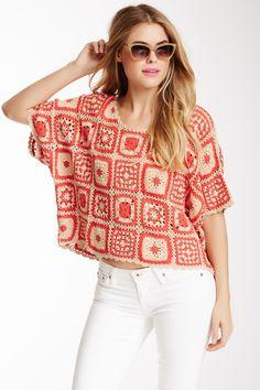 túnica em crochet granny square