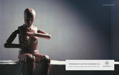 """Crash Test Dummy Checks for Breast Cancer: """"Unfortunately we can't test everything for you. Check your breast for breast cancer once a month. For your safety's sake. Mercedes-Benz."""""""