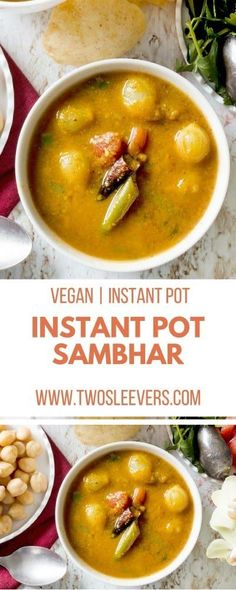 This vegan Instant Pot Sambar recipe will show you how to make sambar and get a wonderful soup to go with your Indian meals. This is an authentic sambar recipe for an Andhra Sambar--one that has been handed down for generations--but most importantly, it is very tasty.  Vegan Instant Pot Recipe | Instant Pot Sambar| Andra Sambar Recipe | Indian Instant Pot Recipe Instant Pot Sambar? via @twosleevers