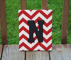 Personalized Red Chevron with Black Initial by LettersFromAtoZ, $15.00