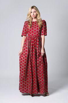 Red dress Long Wax print Dress Batik dress Sleeved by COLUFashion