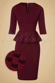 Vintage Chic Maddison V Neck Peplum Dress in Red Black 100 27 19780 20160908…