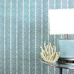 Toy Room in soft green over white (see image on  Cutting Edge Stencils )- Herringbone Stitch Allover Stencil