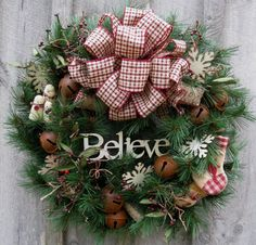 "Country Christmas ""Believe"" Wreath by NewEnglandWreath"