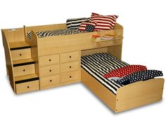 Beds for boys' room-- like that it isn't as high as a bunk and the L-shape is good for the long thin room.