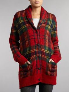 Denim and Supply Ralph Lauren Tartan shawl knit cardigan Multi-Coloured - House of Fraser