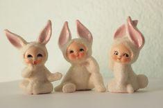 Vintage Lefton Snow Bunny Babies