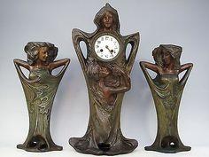 ORIGINAL ART NOUVEAU FIGURAL ORGANIC NYMPHS SPELTER CLOCK GARNITURE C.1900