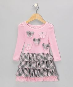 Take a look at this Pink Plaid Bow Ruffle Dress - Infant & Toddler by Nannette on #zulily today!