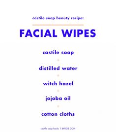 Never remember to wash your face? DIY facial cleansing wipes with this recipe from Live Simply. Keep them in a jar on your bathroom counter or nightstand for those nights when you just can't...