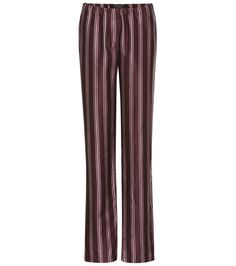 Burberry - Printed silk and cotton pyjama trousers -  The pyjama-style pair come with a rich burgundy base and are decorated with lengthening pastel-pink stripes, while an elasticated waist ensures utmost comfort. Echo the brand's runway styling and partner yours with a crisp white blouse. - @ www.mytheresa.com