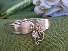Vintage 1930's Silver Plated Spoon Bracelet. Personalize With 2 Charms Of Your Choice,Unique gift,Charm Bracelet,Spoon Bracelet,Re-purposed by AnotherEraByBecky on Etsy