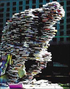 Book Sculpture: The Thinker/Le Penseur I Love Books, Great Books, Books To Read, Land Art, Art Bizarre, World Of Books, Library Books, Altered Books, Book Design
