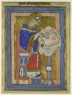 Full-Page Miniature Of St. Dunstan Writing, Extracted From A Commentary On The Rule Of St. Benedict (1170) This miniature was ...