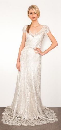Old World refinement meets modern style in this fresh interpretation of a classic sheath gown by Sarah Janks Bridal